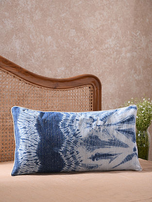 Blue and White Kantha Embroidered Shibori Cushion Cover (L - 26in, W - 14in)