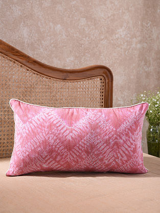 Pink and White Kantha Embroidered Shibori Cushion Cover (L - 25.5in, W - 14in)
