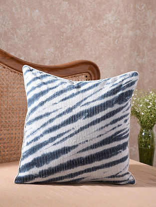 Blue and White Kantha Embroidered Shibori Wild Cushion Cover (L - 20in, W - 20in)