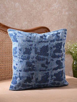 Blue Kantha Embroidered Shibori Cushion Cover (L - 20in, W - 20in)