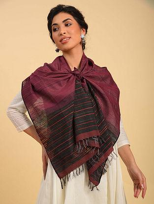 Maroon Handwoven Jamdani  Silk Stole