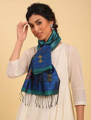 Blue Handwoven Jamdani  Silk Stole