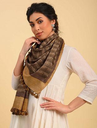 Brown Handwoven Handblock Printed  Silk Stole