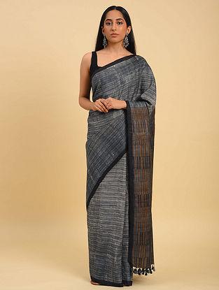 Grey Handwoven Handblock Printed  Silk Saree