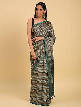 Brown Handwoven Handblock Printed  Silk Saree