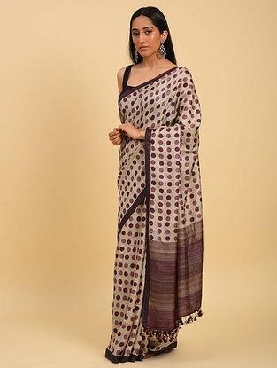 Purple Handwoven Handblock Printed  Silk Saree