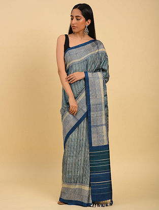Blue Handwoven Handblock Printed  Silk Saree