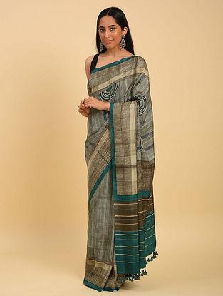 Green Handwoven Handblock Printed  Silk Saree