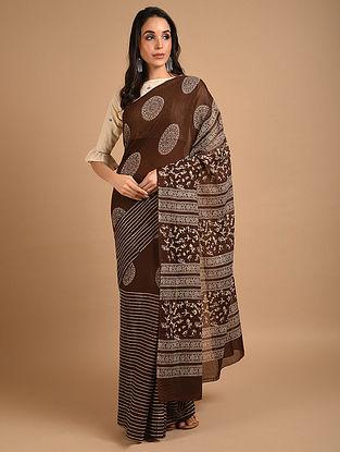 Brown Ajrakh Printed Cotton Saree