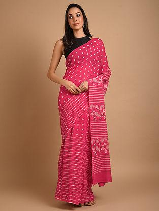 Pink Ajrakh Printed Cotton Saree