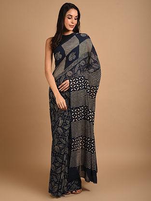 Blue Ajrakh Printed Cotton Saree