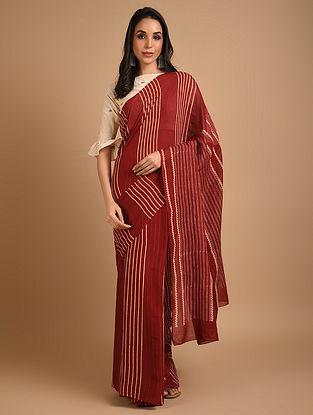 Red Ajrakh Printed Cotton Saree