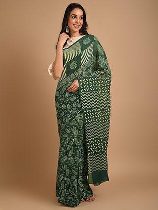 Green Ajrakh Printed Cotton Saree