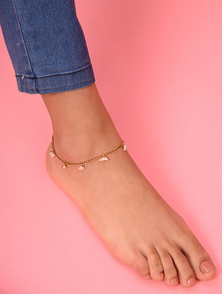 White Gold Tone Agate Beaded Anklet