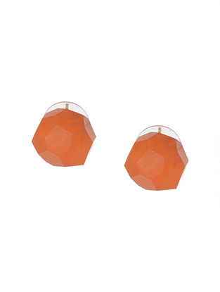 Orange Agate Handcrafted Stud Earrings