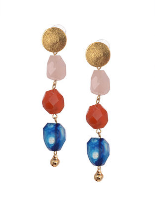 Multicolored Gold Tone Handcrafted Agate Earrings