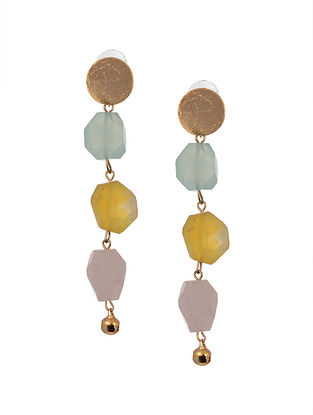 Multicore Gold Tone Agate Earrings