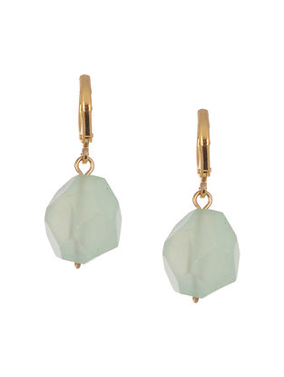 Green Gold Tone Handcrafted Agate Earrings