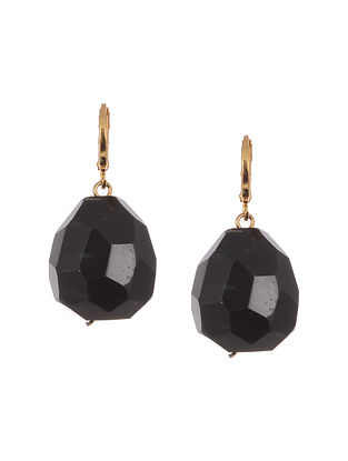 Black Gold Tone Handcrafted Agate Earrings