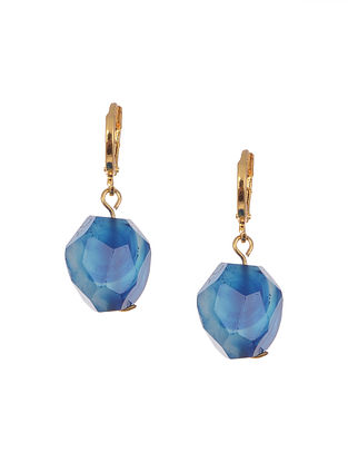 Blue Gold Tone Handcrafted Agate Earrings