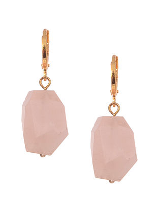 Pink Gold Tone Handcrafted Agate Earrings