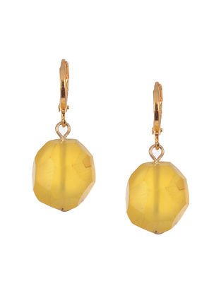 Yellow Gold Tone Handcrafted Agate Earrings