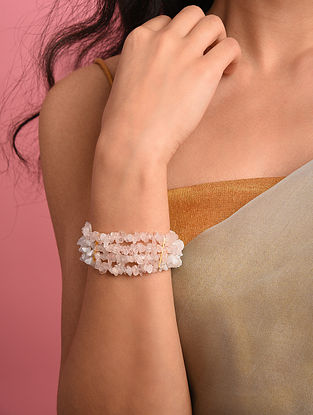 White Pink Agate Beaded Bracelet
