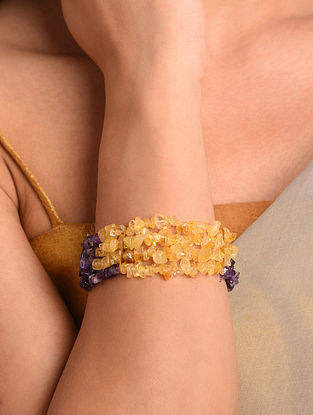 Yellow Purple Agate Beaded Bracelet