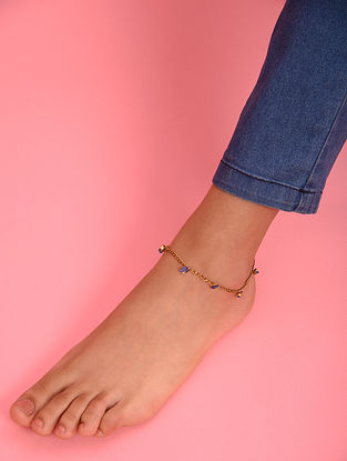 Blue Gold Tone Agate Beaded Anklet