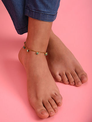 Turquoise Gold Tone Agate Beaded Anklet