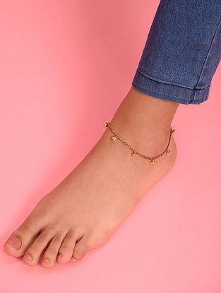 Pink Gold Tone Agate Beaded Anklet