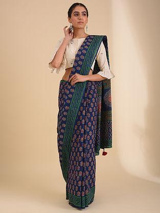 Blue Block Printed Cotton Saree