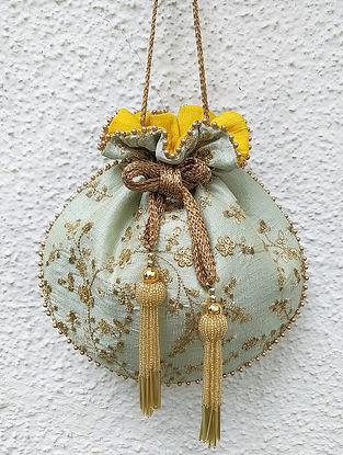 Sea Green Embroidered Silk Potli