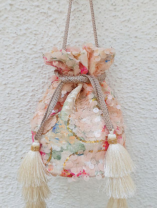 Peach Handcrafted Sequinned Net Potli