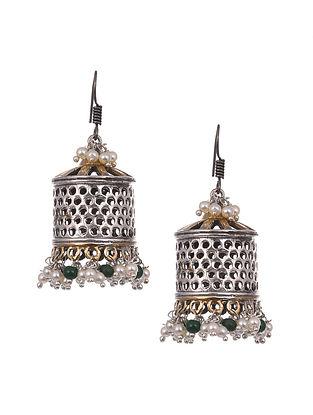 Green Silver Tone Tribal Jhumki Earrings With Pearls