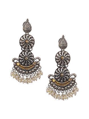 Dual Tone Tribal Earrings With Pearls