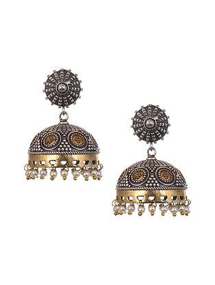 Dual Tone Tribal Jhumki Earrings With Pearls