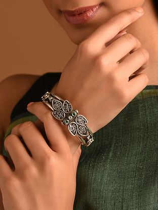 Tribal Silver Bangle (Size:  2/3)