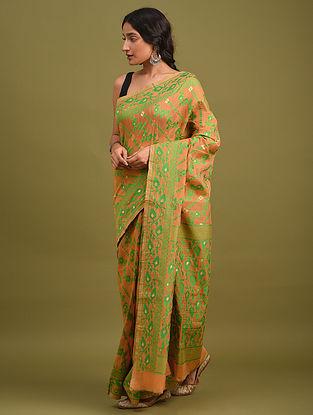 Brown Handwoven Jamdani  Cotton Silk Saree