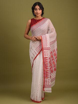 White Handwoven Jamdani  Cotton Silk Saree