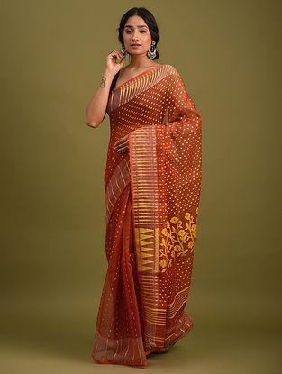 Orange Handwoven Jamdani  Cotton Silk Saree