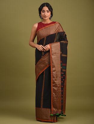 Black Handwoven Jamdani  Cotton Saree