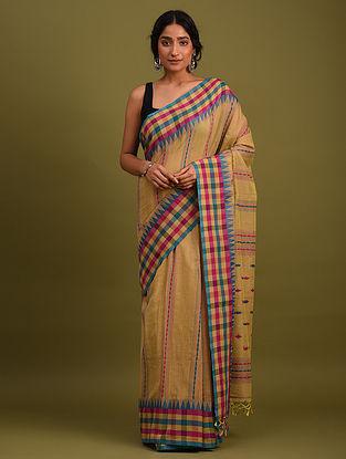 Brown Handwoven Jamdani  Cotton Saree