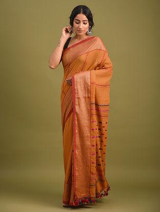 Orange Handwoven Jamdani  Cotton Saree