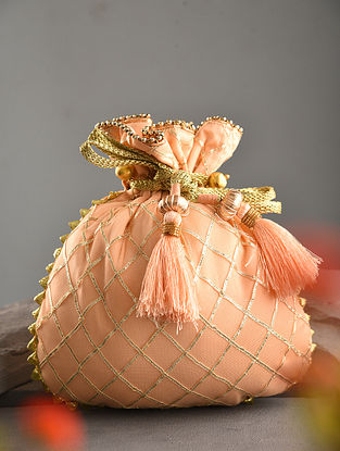 Peach Handcrafted Net Potli