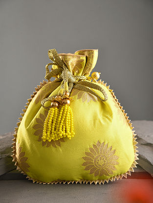 Lime Green Handcrafted Chanderi Cotton Potli