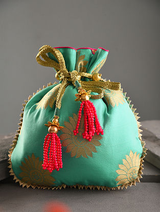 Turquoise Handcrafted Chanderi Cotton Potli