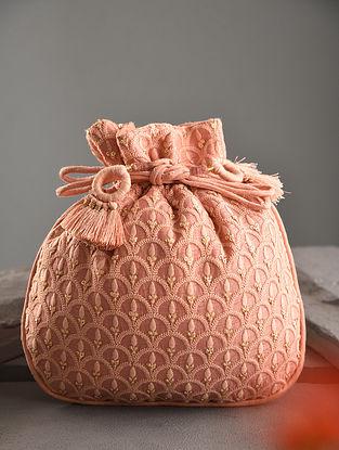 Pink Handcrafted Dupion Silk Potli