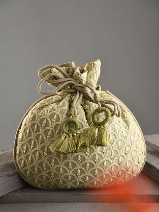 Pista Green Handcrafted Dupion Silk Potli