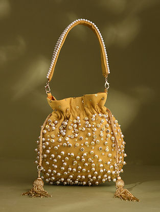 Yellow Handcrafted Beaded Suede Potli